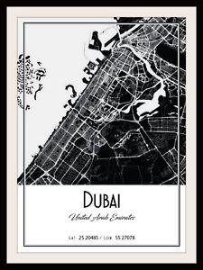 DUBAI CITY MAP POSTER PRINT MODERN CONTEMPORARY CITIES TRAVEL IKEA FRAMES