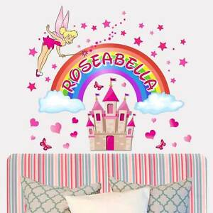 Personalised-Fairy-Princess-Castle-Girls-bedroom-wall-sticker-Rainbow-mural
