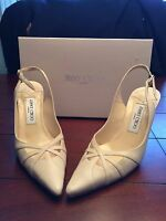 Jimmy Choo Ivory Pointy Toe grainy Goat Slingback Heels W/box - 38