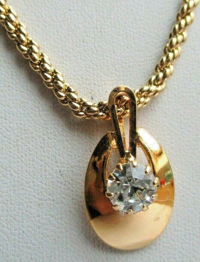 Superbe collier pendentif chaîne plaqué or solitaire diamant CZ bijou rétro 624