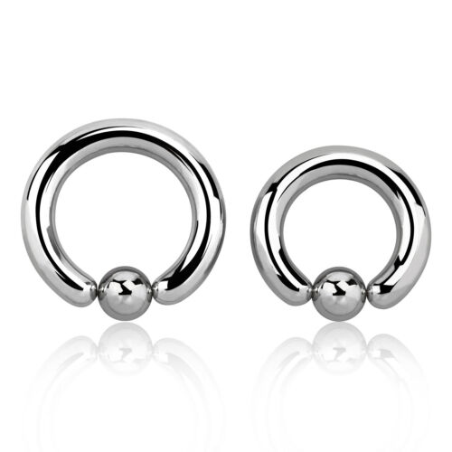 5 mm Surgical Steel Captive Bead Ring with 8 mm Ball Stretch Lobe Ear Plugs 4G