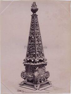 Gente Di Pavia Obelisco Fontana Pavia Italia Vintage Albumina Ca 1880