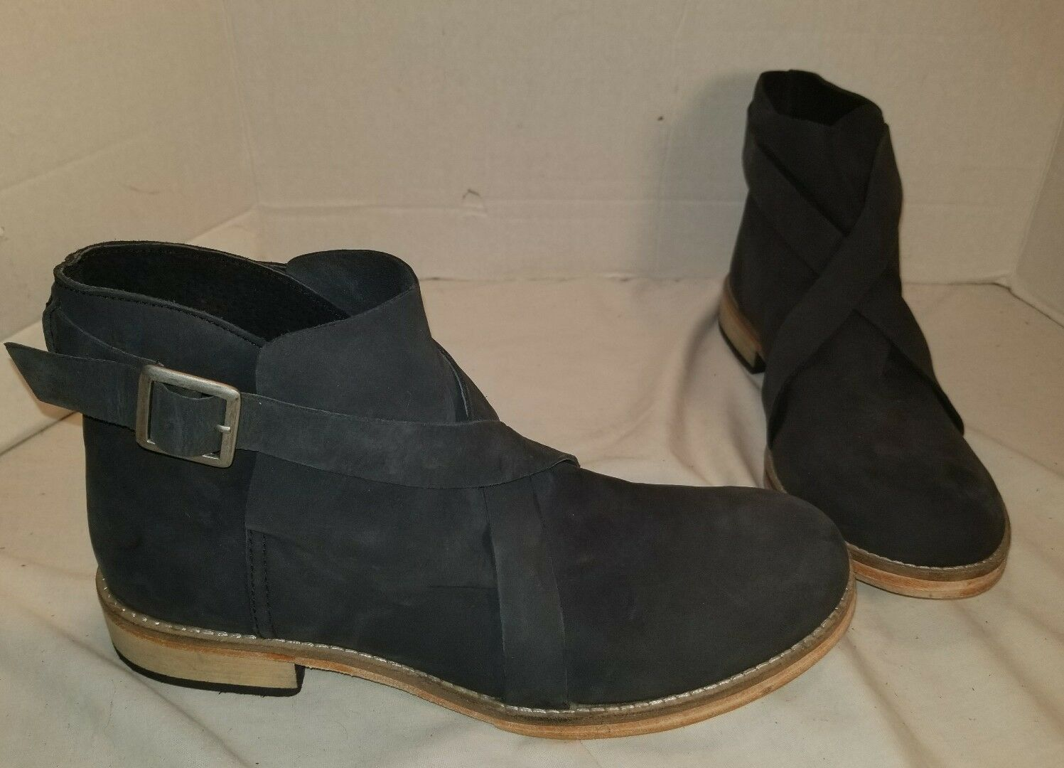 ANTHROPOLOGIE FREE PEOPLE LAS PALMAS BLACK LEATHER ANKLE BOOTS US 10