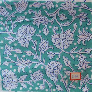 Sanganeri Pure Cotton Indian Hand Block Print Fabric Running Fabric 3 Yard Craft