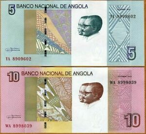 ANGOLA-SET-2-PCS-5-Y-10-KWANZAS-2012-Pick-NEW-UNC