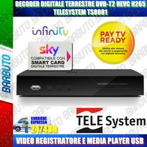 DECODER DIGITALE TERRESTRE DVB-T2 HEVC H265 VIDEO REGISTRATORE E MEDIAPLAYER USB