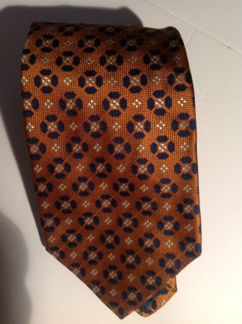 Luciano Barbera 100% Woven Silk Geometric Necktie - Copper and Navy Blue