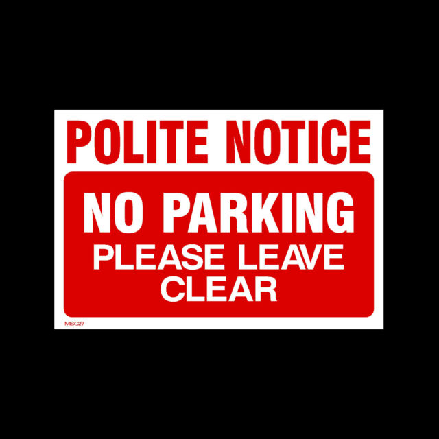 Disabled Do not block No parking please leave clear Plastic Sign with 4 Pre-Drilled Holes Parking Clamping MISC27 Private Property Polite Notice Driveway