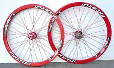 Fixed Gear Track Road 700c 40mm Wheels white Rim red spokes Sealed Bearing