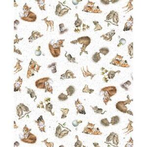 Maywood Love Is by Hannah Dale MASD 6201 B Lt Blue Animal Toss  Cotton Fabric