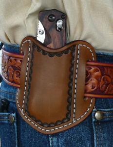 XL-S-Leather-Pancake-Pocket-Knife-Sheath-Benchmade-Ruff-039-s-Border-Tooled-Brown