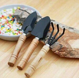 Gardening Tool Set 3PC Mini Wood Handle Shovel Trowel Tools for Flower Succulent