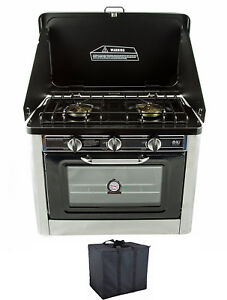 Portable Camping Gas Oven 2 Burner Stove Cooktop Stainless Steel Cooker NJ CO-01
