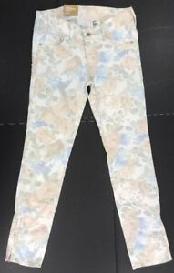 H-amp-M-Women-039-s-amp-Denm-Floral-Print-Stretch-Skinny-Low-Ankle-Zipper-Jeans-Sz-27-Nwt