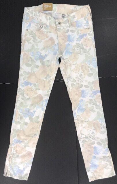 H&M Women's & Denm Floral Print Stretch Skinny Low Ankle Zipper Jeans Sz 27 Nwt