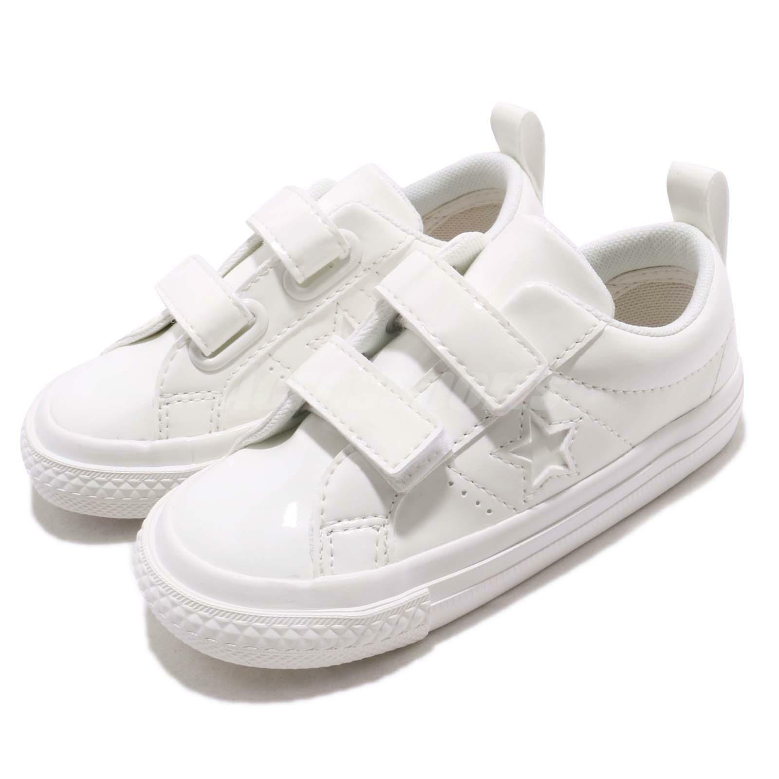 Converse One Star 2V Triple blanc Patent Leather TD Toddler Infant chaussures 762521C
