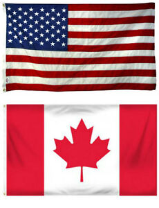 3x5 USA Canada Friendship Poly Flag Banner Brass Grommets