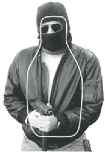 NTC-300 Hooded Man w gun & FBI-Q scoring, Cardboard (bundle of 30), 19  x 30