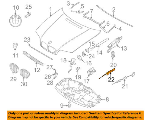 BMW OEM 01-06 325Ci Hood-Latch Lock Release Cable 51238218859