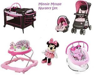 6 Pc. Minnie Mouse Newborn Set Car Seat Stroller PlayYard Crib ...