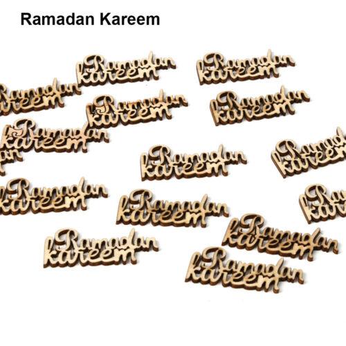 DIY Plaque Ornament Eid Mubarak Ramadan Kareem Wooden Pendant English Letters