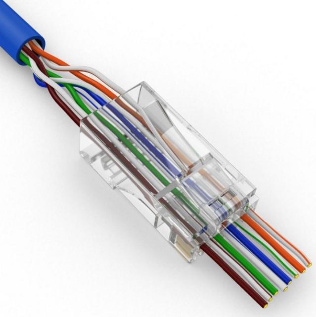 100 Pcs CAT6 Plug EZ RJ45 Network Cable Modular 8P8C Connector End Pass Through
