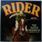 RIDER Vintage Florida Citrus Crate Label, Jockey, Horse, ***AN ORIGINAL LABEL***