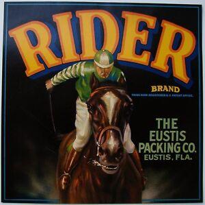RIDER-Vintage-Florida-Citrus-Crate-Label-Jockey-Horse-AN-ORIGINAL-LABEL