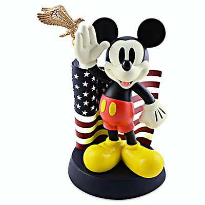 Disney Parks Medium Big Fig Figurine Mickey Mouse Salutes American Flag NEW!