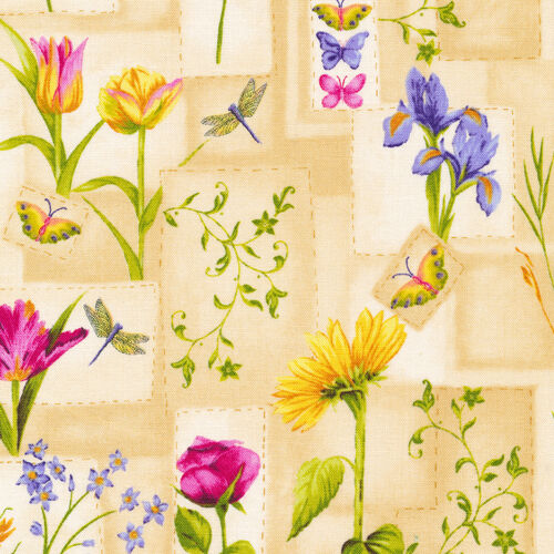 Fat Quarter Block Party Floral Butterfly Flowers Cotton Quilting Fabric
