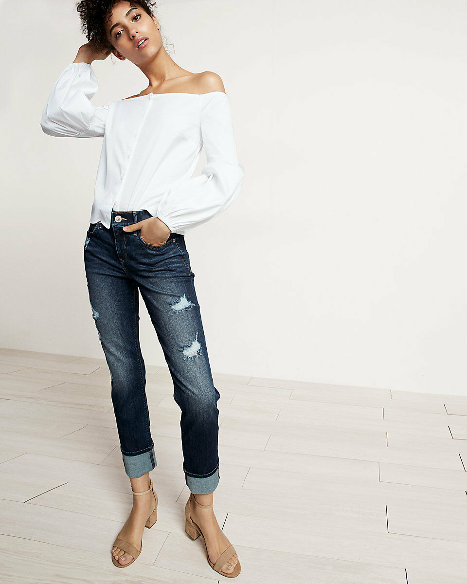 New EXPRESS Mid Rise Distressed Cuffed Stretch Performance Cropped Skinny Jean 2