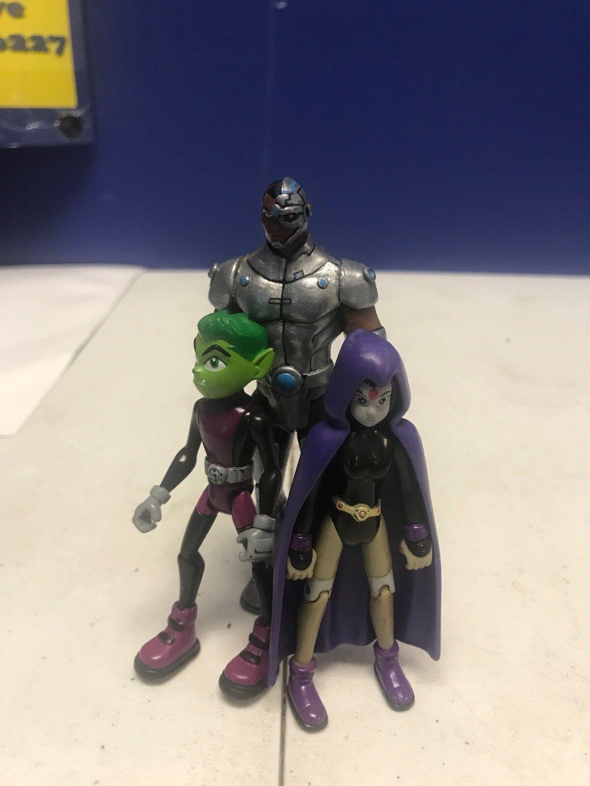 Teen Titans Bandai 2005 Rare Figure Lot Cyborg Armor Beast Boy Raven
