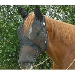 CASHEL-FLY-MASK-STANDARD-HORSE-QUIET-RIDE-LONG-COVERS-NOSE-EARS-RIDING-FOR-TRAIL
