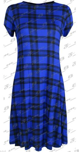 Womens Ladies Printed Short Sleeve Skater Swing Dress Cap Flared Tea Plain