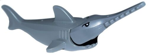 ☀️NEW Lego Gray Sawfish with Gills with Black Eyes and White Pupils Pattern