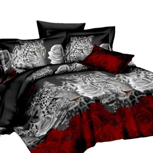 3Dliterie animal housse de couette couverture taie d/'oreiller maison décor hiver