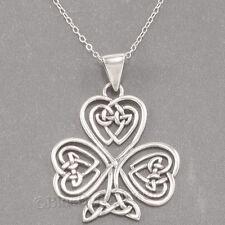 "CELTIC KNOT HEART SHAMROCK Irish Clover Pendant 925 STERLING SILVER 18"" Necklace"