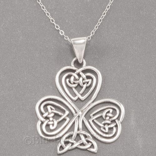 """Celtic Knot Coeur Trèfle Irlandais Trèfle Pendentif 925 Sterling Argent 18/"""" Collier"""