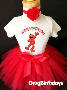 Image Is Loading Second Red Elmo 2nd Birthday Shirt Tutu Outfit