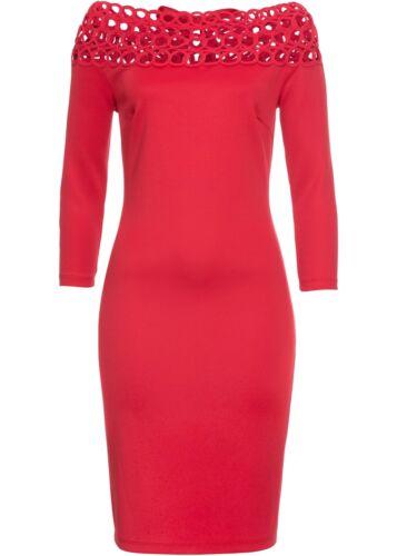 245905 in Rot 36//38 Damen Kleid mit Carmen Ausschnitt
