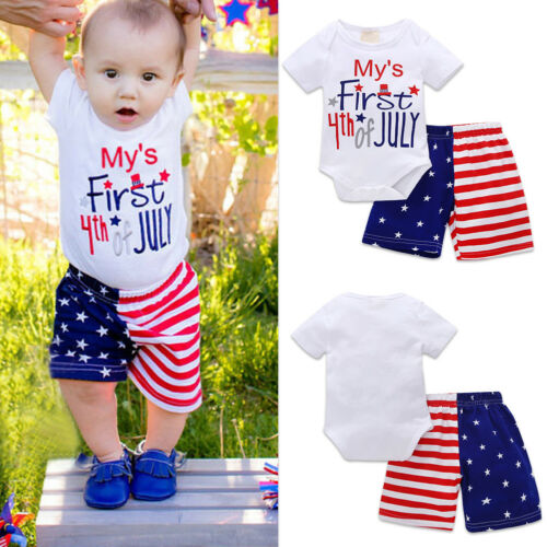 Mon premier 4th de juillet Bébé Garçons drapeau américain étoiles rayures Ange Shorts Pantalon Costume
