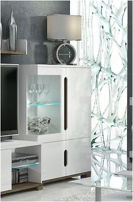 Lorenz High Gloss White Sideboard TV Unit Tall Display Cabinet Lounge Furniture