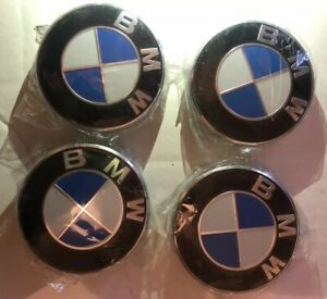 Lot-4-Cache-Moyeu-BMW-Logo-Jante-Centre-De-Roue-68mm-BLEU-BLANC-Embleme-Insigne