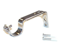 35mm Polished Chrome Adjustable Curtain Pole Brackets Secure 2 Hole Fixing rings