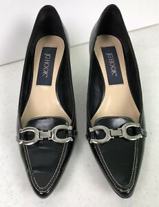 b86450d778c Details about J G HOOK 9M Black Lucky Horse Shoe Loafer Pumps Heel Pointed  Toe Classy!