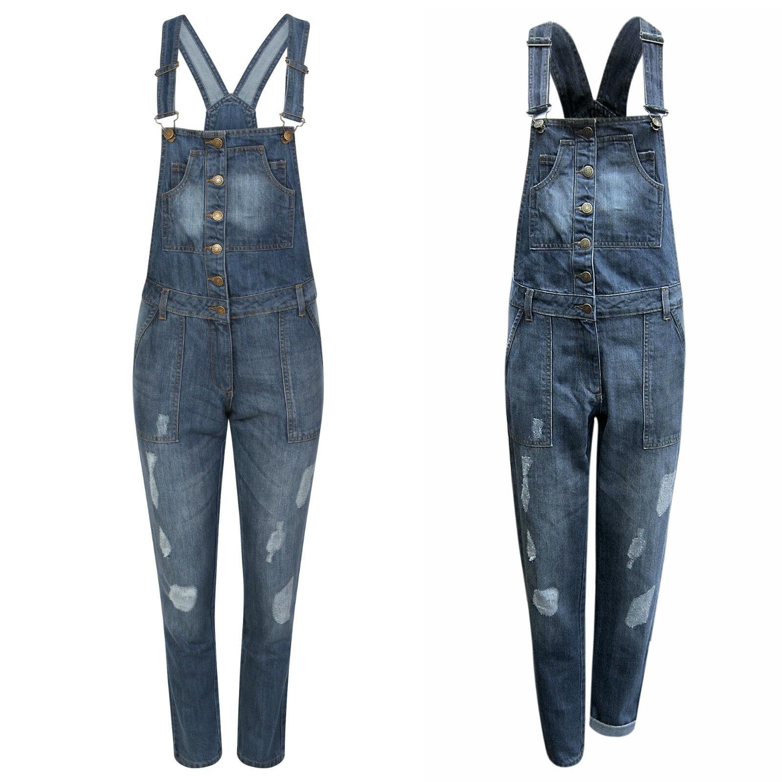 Womens Ladies Dungaree Gina Denim Jeans Full Slim Fit Ripped Knee Wash Jumpsuit