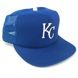 bd9d1a16 Details about Vintage Kansas City Royals New Era Adult Snapback Mesh  Trucker Hat Blue White KC