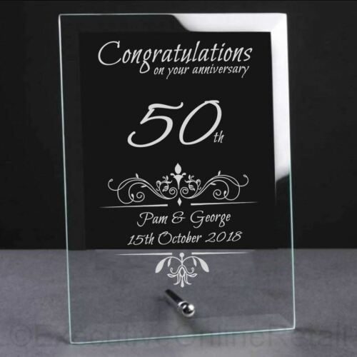 Wedding Anniversary Personalised Engraved Glass Presentation Gift Plaque