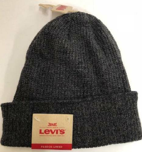 da91bfded21c0 Levi s OS Men s Charcoal Gray Rib Cuff Fleece Lined Waffle Beanie Hat for  sale online