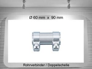 Auspuffschelle Rohrschelle Doppelschelle Rohrverbinder Ø 60mm  Länge 90mm